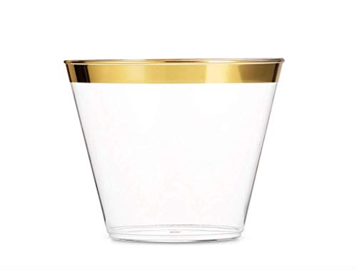 Trim Water Goblet - Gold Rimmed Clear Plastic Cups, Plastic Tumblers – Disposable Party, Wedding Plastic Cups, 9 oz - 50 Pack