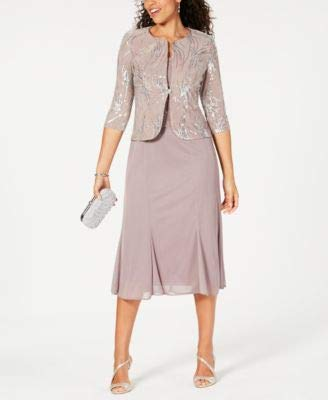 Alex Evenings Women's Tea Length Mock Dress with Sequin Jacket (Petite and Regular Sizes), Pewter/Frost, 8