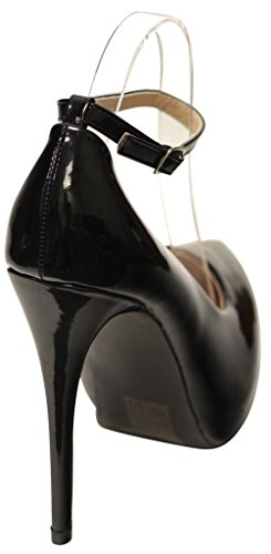 Bella Marie Helena-42 Womens Bout Pointu Plateforme Stiletto Cheville Sangle Brevets Pompes Noir