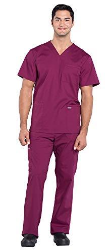 - Cherokee Workwear Professionals Men's 4 Pocket V-Neck Scrub Top WW695 & Men's Drawstring Cargo Scrub Pants WW190 Medical Uniforms Scrub Set (Wine - Small/Small)