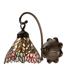 (Tiffany Style Stained Glass Light Wisteria Wall Sconce)
