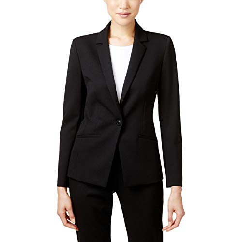 Tahari by Arthur S. Levine Women's Petite Bi-Stretch One Button Jacket with Pinstripe Lining, Black, 12P