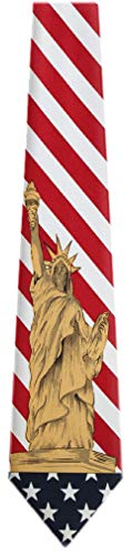 FLAG-357-USA Flag and Statue of Liberty Mens Tie