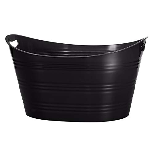 CreativeWare PTUB-BLK Party Tub 8.5 Gl, Black, 8.5 Gallon (Metal Large For Tubs Drinks)