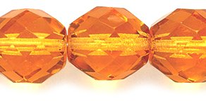 Preciosa 10FC254 Czech Fire 10mm Polished Glass Bead, Faceted Round, Transparent Topaz, 60-Pack