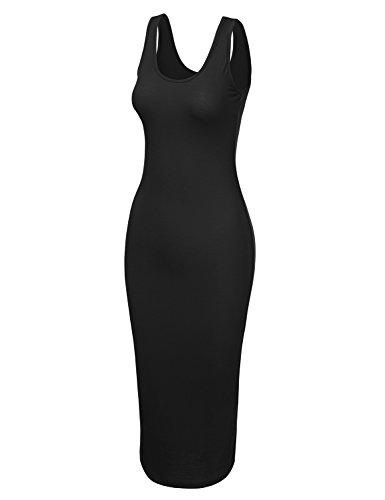 Doublju Womens Plus black Sleeveless Cwdmd132 Sizes Midi Tank with Bodycon Dress ffRwxUr