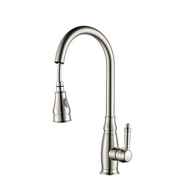 Kitchen faucet - Single Handle One Hole Nickel Brushed Pull-out   Pull-down Deck Mounted Contemporary Brass