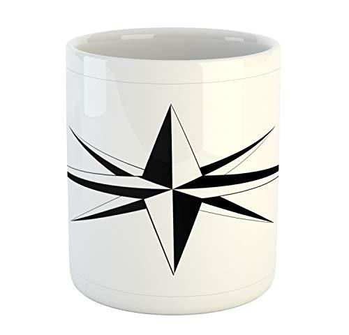 Lunarable Vintage Nautical Tattoo Mug, Simplistic Illustration of a Windrose Maritime Themed Star Print, Ceramic Coffee Mug Cup for Water Tea Drinks, 11 oz, Black White