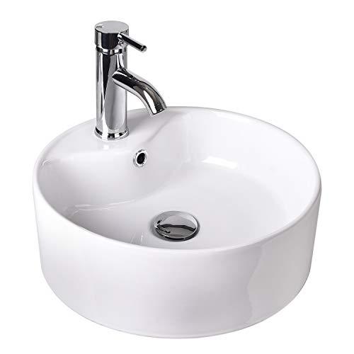 ELECWISH Bathroom Vessel Sink Round Ceramic Combo - Porcelain 12