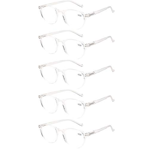 5 Pairs Reading Glasses - Standard Fit Spring Hinge Readers Glasses for Men and Women (5 Pack Transparent, 1.00) ()