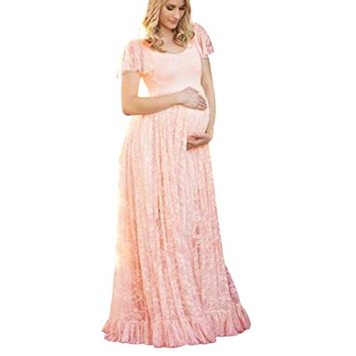 Women's Ruched Floral Lace Maternity Nursing Party Maxi Tank Dress Baby Shower Pregnancy Photography Long Gown Dresses Pink
