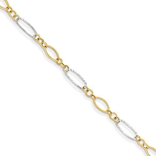 Oval Charm Bracelet 14k (14k Two Tone Yellow Gold Oval Shapes Bracelet 7.25 Inch Fancy Fine Jewelry For Women Gift Set)