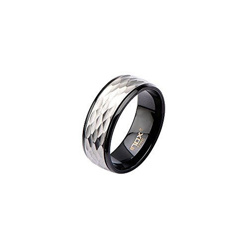 Inox Jewelry Stainless Steel Matte & Polish Spinner Ring (Black, Size 13) from INOX