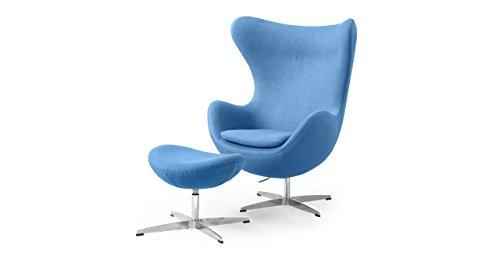 Kardiel Amoeba Chair & Ottoman, Baby Blue Boucle Cashmere Wo