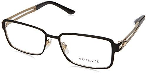 Versace VE1236 Eyeglass Frames 1377-55 - Matte Black/Pale Gold VE1236-1377-55 by Versace