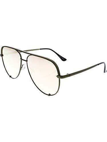 (Quay Australia HIGH KEY Men's and Women's Sunglasses Classic Oversized Aviator - Green/Gold)
