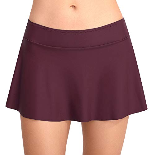 Cherrydew Womens Swim Skirt Solid Build-in Brief Tummy Control Bikini Tankini Bottom(Purple, Small) ()