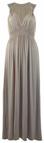 Long Extensible Femmes Grecque Beige Style Robe Sans V Femmes t Stone Longue Col Manche Neuf wxqEUaTt