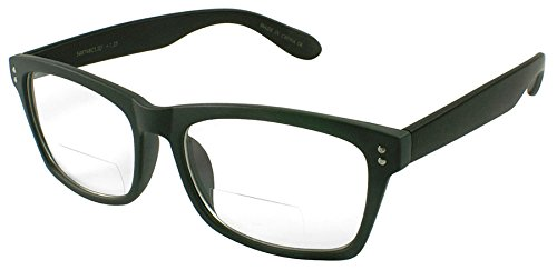 Gray Lens Plastic (Edge I-Wear Plastic Reader with Clear Bifocal Lens 540748TCB1.00-4(Matte GRAY/Matte BLK))