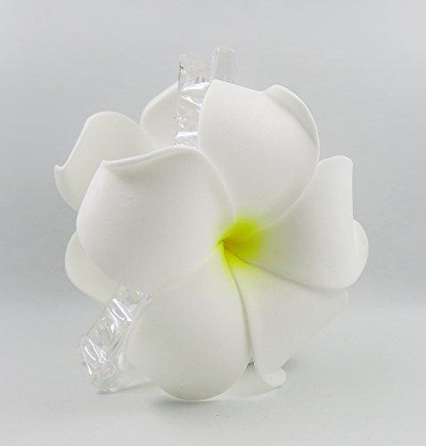 Hawaiian Plumeria Foam Flower Hair Claw Choose Color (18 White)