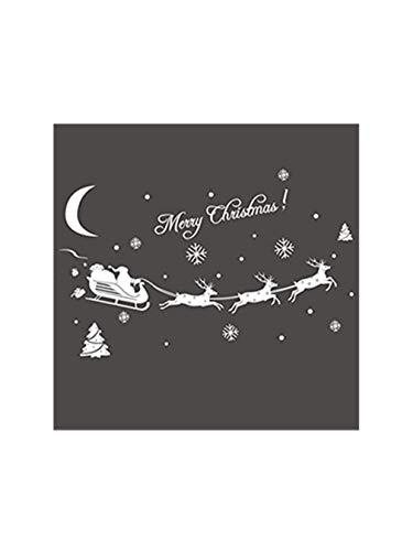(Christmas Window Stencil Sticker PVC Window Cling Sheet - Removable Snowflake Decal for Window Decoration (White, 4370CM))