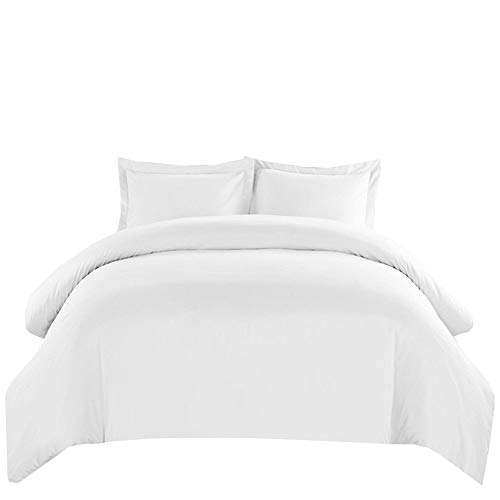 Royal Hotel's Solid White 550-Thread-Count 3pc Full / Queen Duvet-Cover 100-Percent Cotton, Sateen Solid