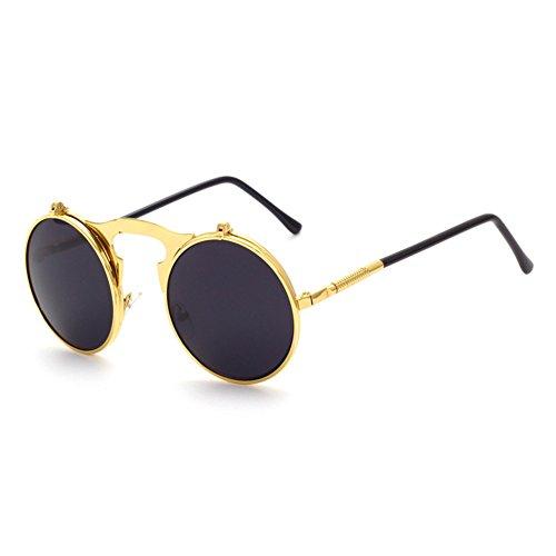 Flip sol Gafas Gafas Gafas Vintage de Gafas Up Steampunk Mirror Mxssi de Hombres Mujer sol Round C2 Retro 5gYEqY6P