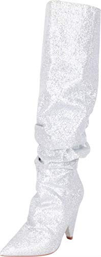 Cambridge Select Women's Slouch Glitter Crystal Rhinestone Cone Heel Knee-High Boot,9 B(M) US,Silver