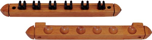 Outlaw Standard 6 Pool Cue Stained Wood Wall Rack with Clips, Honey