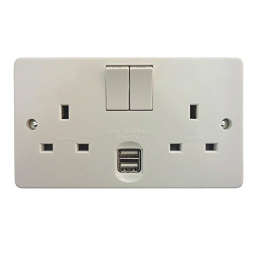 Crabtree 4306/USB/D 'Capital' Twin Switch Socket 13 Amp with USB Outlets 2.1A