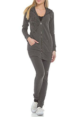 Vertigo Paris Women's Wash Laser Cut Tunic Lounge Tracksuit Jog Set - Black - Large ()