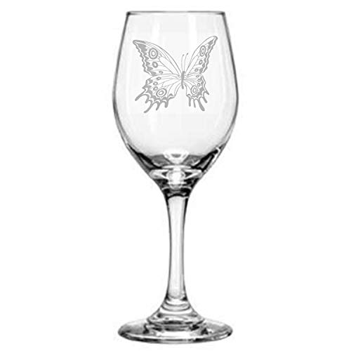 Alankathy Mugs Bear Flower Butterfly 11 oz Wine Glass Gift Present for friends and Family Christmas gift Wine lover drinker (butterfly)
