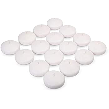 Exquizite Floating Candles for Centerpieces - Bulk Pack of 16 White Unscented Long Burning (8 hrs) Discs - 3 inch Diameter - for Weddings, Christmas Holiday Dinners, Home Decor and Special Occasions