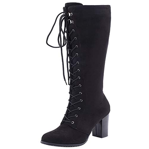 Boots High Women 2 Zipper black Knee Melady Heels Fashion Suede naXBxxq6