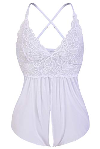 (Donnalla Women Sexy Lingerie Floral Lace Babydoll One Piece Teddy Sheer Lace Lingerie V Neck Chemise (White, Size XXL))