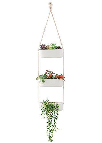Mkono Macrame Hanging Planter with 3 Ceramic Plant Flower Pots, White Ceramic Hanging Planters