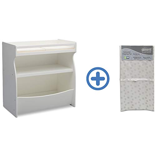 New Delta Children 2-in-1 Changing Table & Storage Unit, Bianca and Waterproof Baby and Infant Diape...