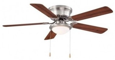 Hampton Bay Hugger 52 In. Brushed Nickel Ceiling Fan by Hamp