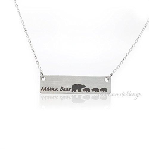 Mama Bear 3 Cubs Necklace Bar Necklace Bar Jewelry Mom Necklace Bar Jewelry For Mom Gift Mothers Day Birthday Gift For Mom Mama Bear Necklace