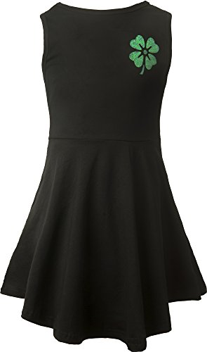 [Ipuang Four Leaves Clover Big Girl Sleeveless Casual Lucky Summer Dress 12 Black] (Cute St Patricks Day)