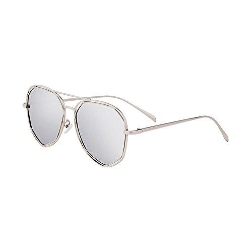 Vintage Cara Gafas De Color Larga UV Luz de Plata Gafas black Redonda BSNOWF Polarizada De La Cara Pure sol Ojo Mujer Anti CwXgzFqO