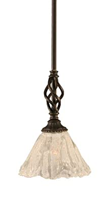Toltec Lighting 80-DG-7195 Elegant Mini-Pendant Dark Granite Finish with Italian Ice Glass, 7-Inch by Toltec Lighting