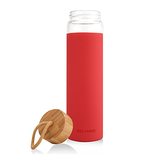 glass water bottle wood lid - 9
