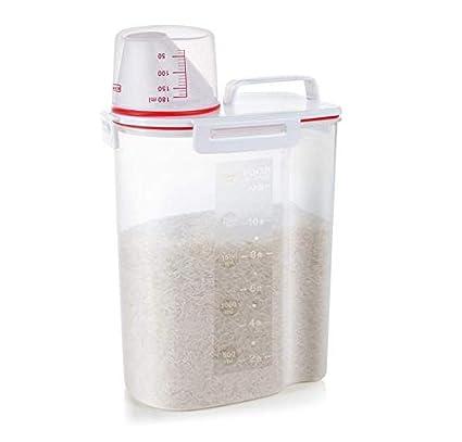 riso contenitore ermetico custodia in plastica senza BPA, contenitori per cereali, dispenser con misurino beccuccio 2kg capacità di riso perfetto per Cuociriso, CMCGJ16 Blue