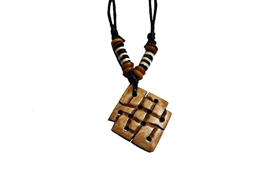 Tibetan Eternal Knot Adjustable Round Handmade Necklace Amulet Made in Nepal