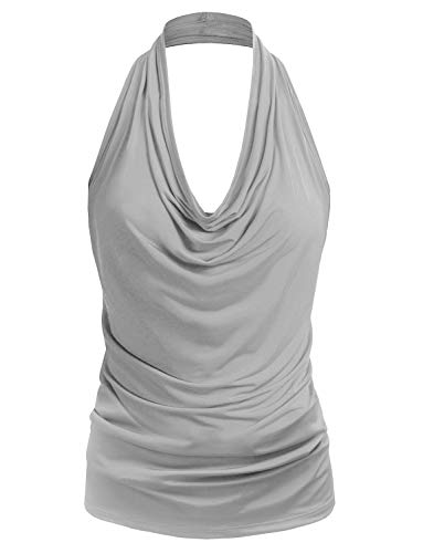 (J. LOVNY Womens Womens Lightweight Low Cut Halter Top S-3XL )