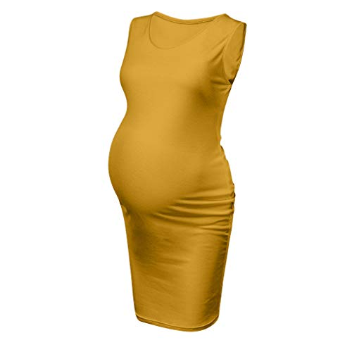 (Maternity Dresses Tight Fitting,Creazrise Maternity Tank Dress Ruched Sleeveless Mama Dress Pregnancy for Baby Shower Yellow)