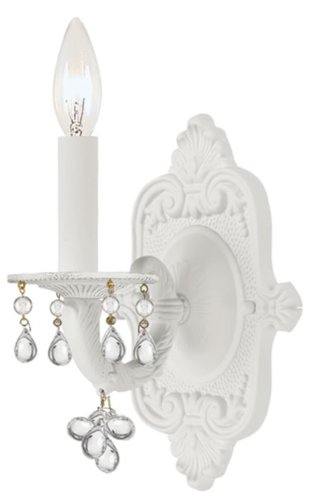 Crystorama 5201-WW-CLEAR Crystal Accents One Light Wall Sconce from Paris Market collection in Whitefinish, 6.00 inches