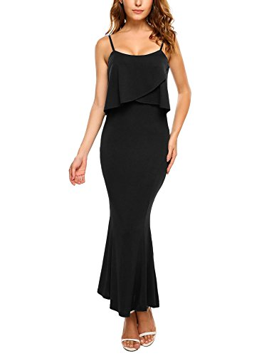 Black Halter Flounce Dress - Zeagoo Women Long Slim Bodycon Classy Halter Mermaid Evening Dresses