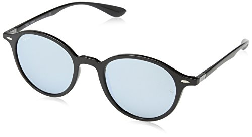 Ray-Ban Injected Unisex Sunglasses - Black Frame Silver Flash Lenses 50mm - Aviator Frame Ban Ray Silver Lens Black